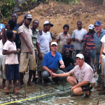 The team working on building a home for a young couple in need